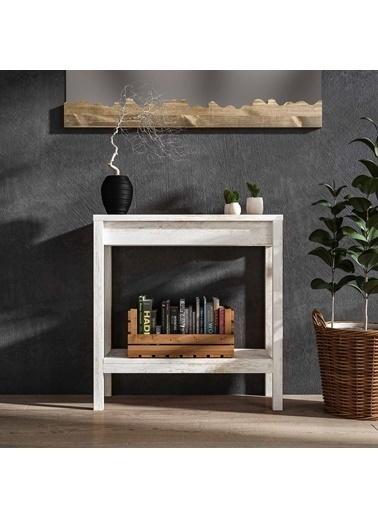 Woodesk Woodesk Masif AğaÇ Renk 80x30 cm Dresuar Beyaz